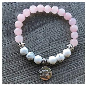 Rose quartz & white howlite lotus flower bracelet